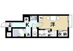 近鉄天理線 前栽駅 徒歩20分の賃貸アパート 1階1Kの間取り
