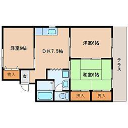 静岡県静岡市葵区長沼の賃貸アパートの間取り