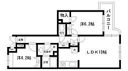 芦屋東パークハイツ[2階]の間取り