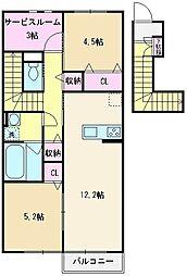 東武東上線 志木駅 バス21分 宗岡下車 徒歩7分の賃貸アパート 2階2SLDKの間取り