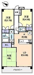 千葉県船橋市二宮1丁目の賃貸マンションの間取り