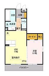 埼玉県所沢市東所沢和田2丁目の賃貸アパートの間取り