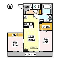 (仮称)D-room勝山北2丁目[2階]の間取り
