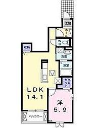 栃木県宇都宮市江曽島3丁目の賃貸アパートの間取り