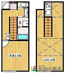 西鉄天神大牟田線 櫛原駅 徒歩15分の賃貸アパート 2階1LDKの間取り