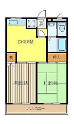 埼玉県和光市下新倉4丁目の賃貸マンションの間取り