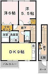 滋賀県東近江市佐野町の賃貸アパートの間取り