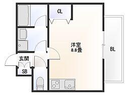 Osaka Metro御堂筋線 大国町駅 徒歩11分の賃貸マンション 8階ワンルームの間取り