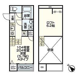 名古屋市営桜通線 吹上駅 徒歩12分の賃貸アパート 1階1SKの間取り