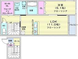 エスタシア 2階1LDKの間取り
