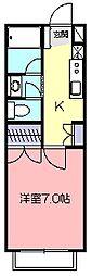 東京都小平市小川東町5丁目の賃貸アパートの間取り