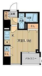 京王線 千歳烏山駅 徒歩3分の賃貸マンション 12階ワンルームの間取り