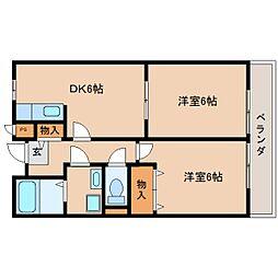 近鉄天理線 天理駅 徒歩18分の賃貸マンション 2階2DKの間取り