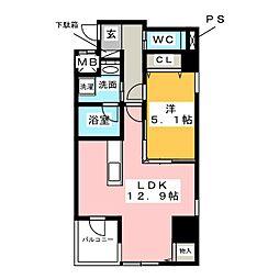 ラシュレ大須[6階]の間取り