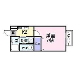 阪急京都本線 大山崎駅 徒歩5分の賃貸アパート 1階1Kの間取り
