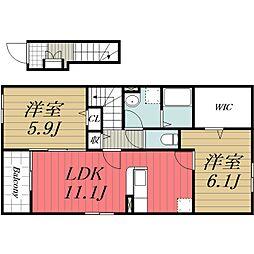 JR内房線 長浦駅 徒歩6分の賃貸アパート 2階2LDKの間取り