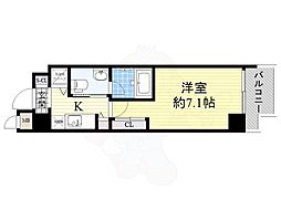 Osaka Metro四つ橋線 本町駅 徒歩9分の賃貸マンション 8階1Kの間取り