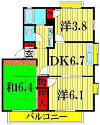 埼玉県越谷市花田2丁目の賃貸アパートの間取り