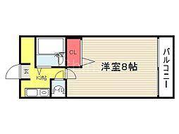 大阪府堺市堺区材木町東4丁の賃貸マンションの間取り