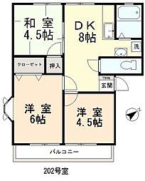 ウインディーコヤマ[201号室]の間取り