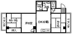 シャトー堺町[403号室]の間取り