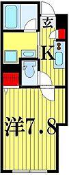 仮)谷在家2丁目新築計画 2階1Kの間取り