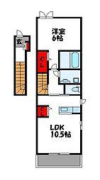 ロクハチメゾン 2階1LDKの間取り