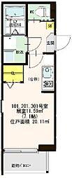 仮称:ハ−モニ−テラス・大阪市西淀川区歌島一丁目8B[301号室]の間取り
