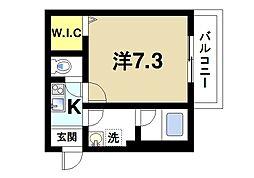 Alce田原本 3階1Kの間取り