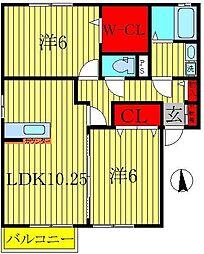 クレストパークA[2階]の間取り