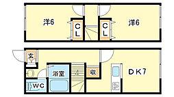 [テラスハウス] 兵庫県姫路市砥堀 の賃貸【/】の間取り