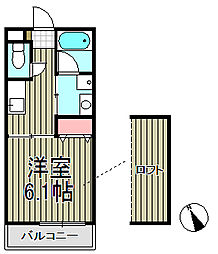 クレールハウス[102号室]の間取り