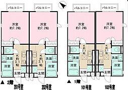 JR横浜線 町田駅 徒歩5分の賃貸アパート 1階1Kの間取り