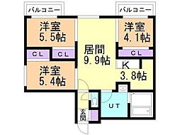 フォレスタ円山 3階3LDKの間取り
