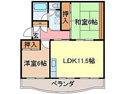 静岡県富士市国久保1丁目の賃貸マンションの間取り