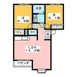 岐阜県可児市大森の賃貸アパートの間取り