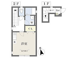 京王線 多磨霊園駅 徒歩5分の賃貸アパート 2階ワンルームの間取り