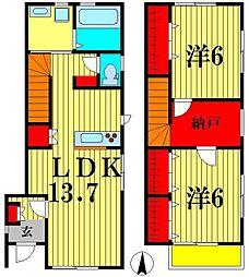 [テラスハウス] 千葉県松戸市紙敷3丁目 の賃貸【/】の間取り