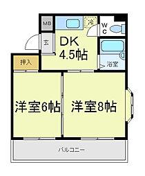 ステイト阿倍野[5階]の間取り