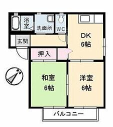 広島県福山市本庄町中4丁目の賃貸アパートの間取り