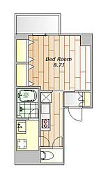 JR山手線 目黒駅 徒歩12分の賃貸マンション 4階1Kの間取り