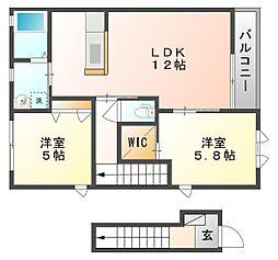 岡山県玉野市迫間の賃貸アパートの間取り