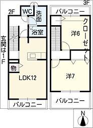 ラフィーネ琴塚[2階]の間取り