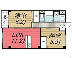 千葉県四街道市もねの里6丁目の賃貸マンションの間取り