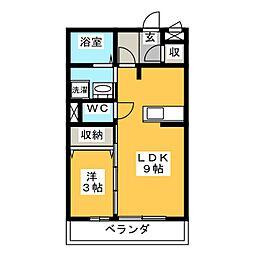 静岡県沼津市小諏訪の賃貸アパートの間取り
