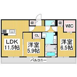 (仮)野溝西1丁目D-room B棟[3階]の間取り