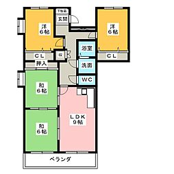 ベルビレッジ上汐田[8階]の間取り