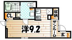 福岡県北九州市八幡西区本城学研台3の賃貸アパートの間取り