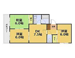 京都府京都市伏見区醍醐下端山町の賃貸マンションの間取り