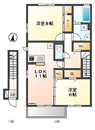 東京都小金井市緑町3丁目の賃貸アパートの間取り